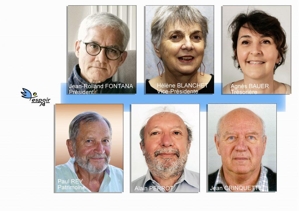 montage ohotos des portraits des adminstrateurs constituant le bureau